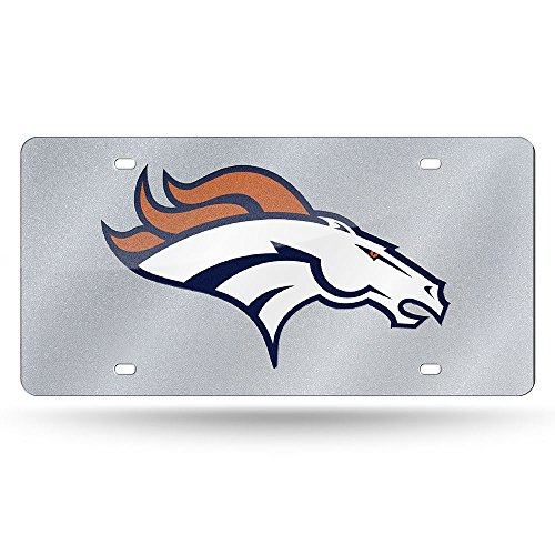NFL Denver Broncos Bling Laser Cut Auto Tag Plate, 12 x 6-Inch, (Denver Broncos Silver Laser)