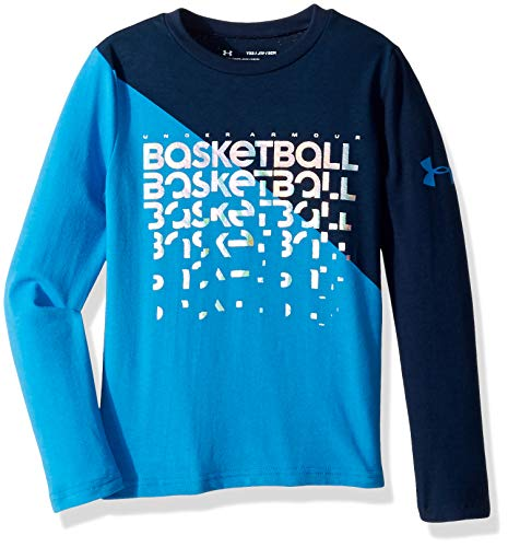 Under Armour Boys Basketball Repeat Long sleeve Tee, Brilliant Blue (787)/Iridescent Foil, Youth Small