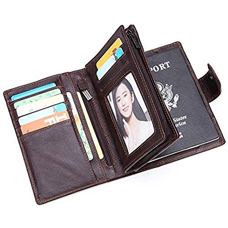 bc9ac9381 Bruce Wang Genuine Leather Business Wallet Passport Holder Passport Cover  RFID Blocking Security Credit Card Holder