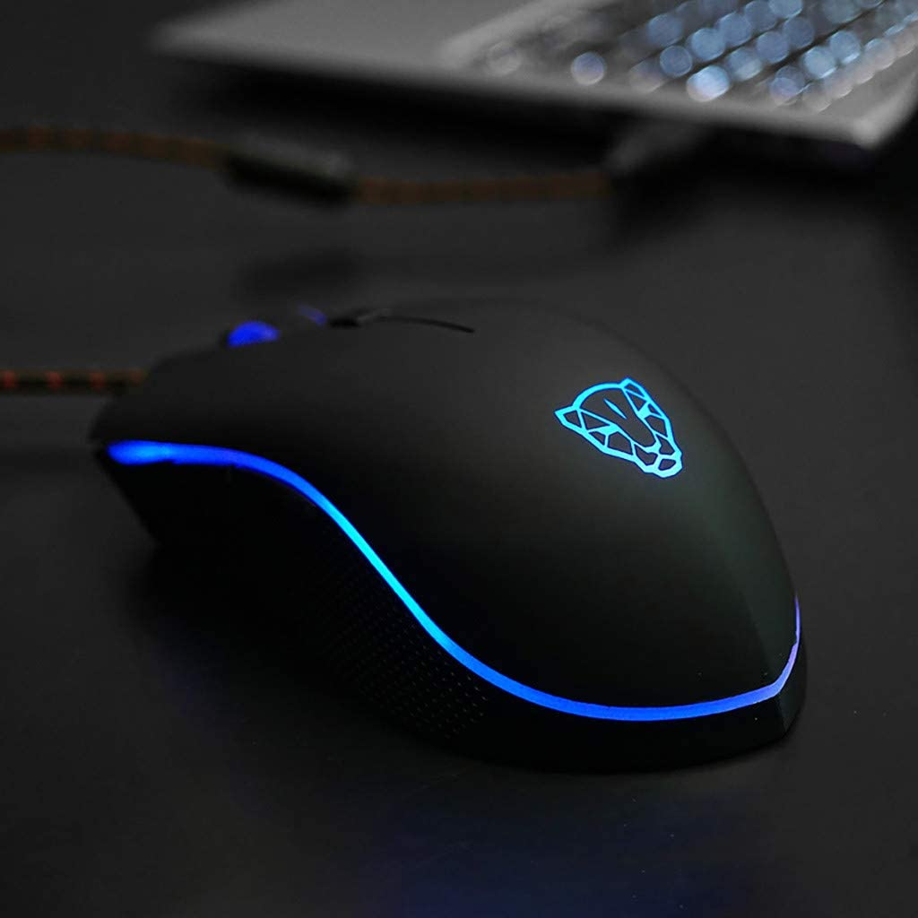Gbell  RGB Gaming Mouse 4000 Dpi Ergonomic Gamer Laptop PC Mouse with 6 Programmable Buttons for for Notebook PC Laptop Wired Gaming Mice V40 Device for Esports Game