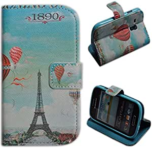Einzige Slim Fit Leather Case Cover for Samsung Galaxy S3 Mini i8190 with Free Universal Screen-stylus (Hot Air Balloon)