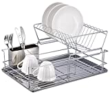 1208S 2 Tier Dish Drainer Dish Rack with Removable Utensil Cup for Kitchen Counter, Stainless Steel