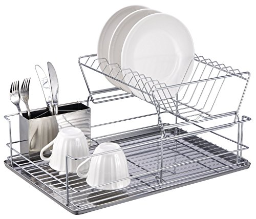 Stainless Steel Dish Strainer (1208S 2-Tier Stainless Steel Dish Drying Rack with Removable Utensil Cup,Plates Organizer Drainer,Kitchen Rack Knife Dish Strainer)