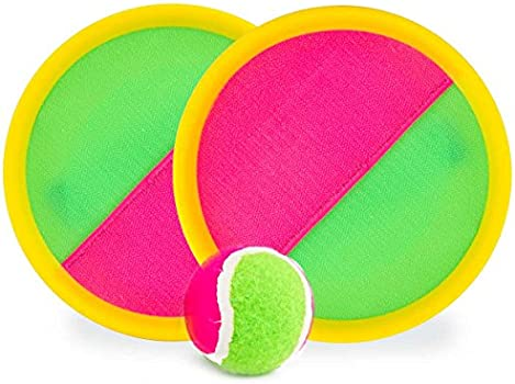 Toss and Catch Game Set Paddle Catch Ball//and Toys Toss Set Disc Paddles and Toss Ball Sport Game 4 Paddles and 2 Balls,Yellow+Green