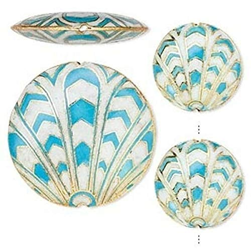 3 Piece Set Cloisonne Turquoise Blue, White Flat Round Coin - Beads Flat Round Cloisonne