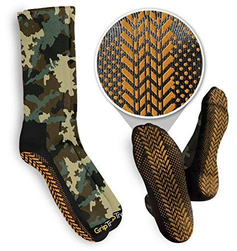 Grip Treads Hunting, Stalking & Outdoor Non-Slip Treaded Camouflage Socks Camo Green and Hunter Orange Large 3 pack