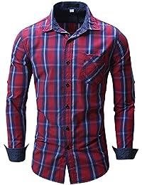"<span class=""a-offscreen"">[Sponsored]</span>Mens Casual Checkered Shirt Long Sleeves Contrast Colors Plaid Cotton Formal Shirt"