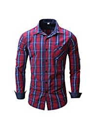 Elonglin Mens Casual Checkered Shirt Long Sleeves Plaid Shirt Contrast Colors Cotton