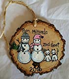Hand Painted Snow Couple and Cat Personalized Snowman Family Christmas Ornament