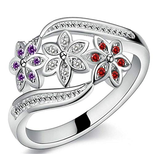 Madeone ✦18K White Gold Plating 3 Color Flower Blossom Rings with Excellent Cut Cubic Zirconia CZ Stone for Women with Box Packing (9)