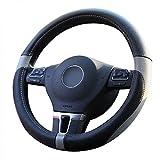 Amuahua Car Steering Wheel Cover Genuine Leather, Universal 15 inch/38CM Breathable for Auto/Truck/SUV/Van (Black & Grey)