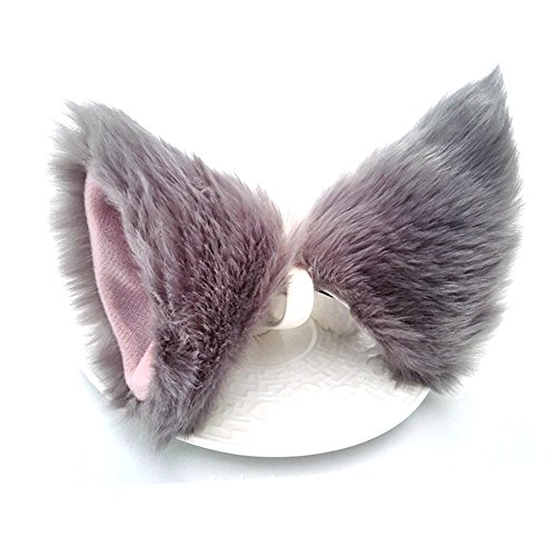 Sheicon Cat Fox Fur Ears Hair Clip Headwear Anime Cosplay Halloween Costume Color Grey Size One Size