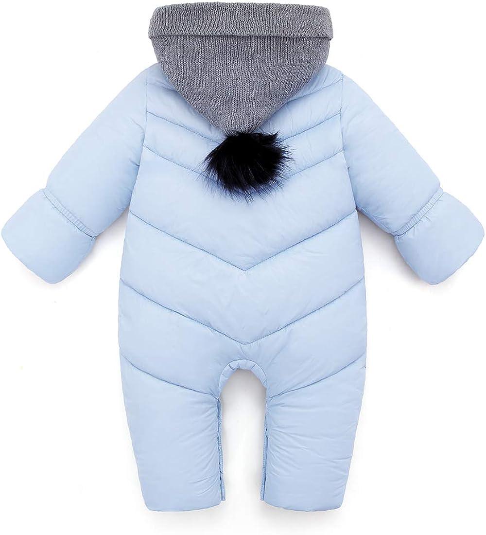 AUBIG Baby Winter Overall Mit Kapuze Baby Jungen M/ädchen Schneeanzug mit Schuhe und Handschuhe 0-24 Monate