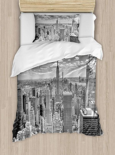 Polyester Cover Duvet Manhattan - 4 Piece Bedding Set Duvet Cover Set with Zipper Closure Twin Size,NYC over Manhattan from Top of Skyscrapers Urban Culture Panorama,Comforter Cover Bedspread Daybed for Adults/Kids/Childrens/Teens