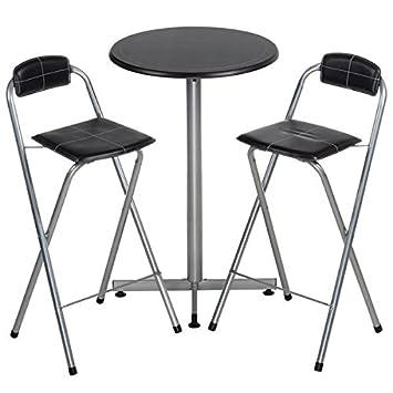 Maison Futée Table Haute Mange Debout Et Ses 2 Chaises Pliantes