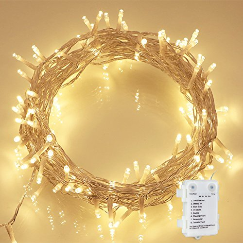 36ft 100LED Battery Waterproof Wire Copper Fairy String lights(Timer) Decor for Indoor Home Ornament /Outdoor Backyard Patio Bistro Pergola Cafe Gazebo Porch Gardens Party Pool Tents Decks(Warm White)