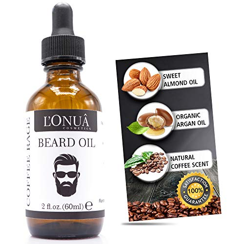 Coffee Rage Scented Beard Oil – 2 fl oz – 100% Natural Premium Conditioner & Softener, by L'Onua Cosmetics