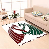 Nalahome Custom carpet Dragons Themed Design Mythical Early Medieval Scandinavian Celtic Castle Knights Print Green Red area rugs for Living Dining Room Bedroom Hallway Office Carpet (22x36)