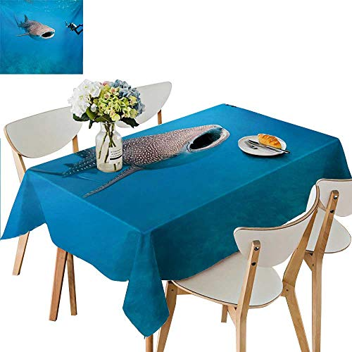 TableCovers&Home Outdoor Tablecloth Rectangular,Giant Whale Shark and Underwater Photographer in Wildlife Diving Image Waterproof Gold Table Cloths for Parties,41W x 80.5L -