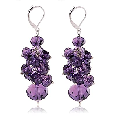 Ginasy Spring Colorful Cluster Crystal Glass Beads Dangle Earrings Beaded Linear Drop Earrings