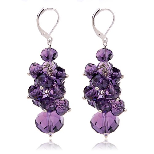 Ginasy Spring Colorful Cluster Crystal Glass Beads Dangle Earrings Beaded Linear Drop Earrings (Purple)