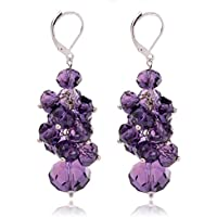 Ginasy Spring Colorful Cluster Crystal CZ Beads Dangle Earrings Beaded Linear Drop Earrings
