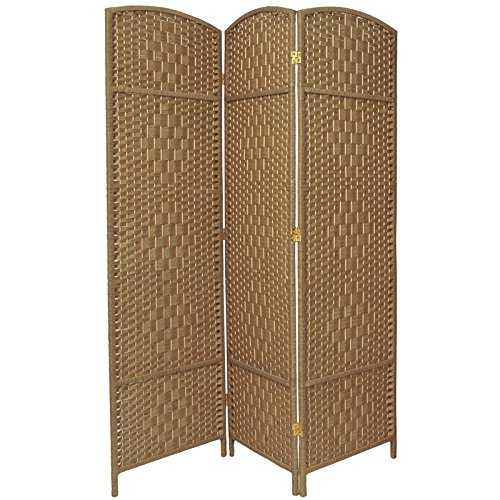 3 Panel Diamond Room Divider - Oriental Furniture 6 ft. Tall Diamond Weave Fiber Room Divider - Natural - 3 Panel