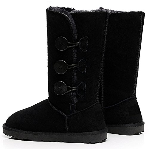Shenn Women's Calf High Fur Lined Winter Button Classic Suede Snow Boots Black RTpiVZd3JO