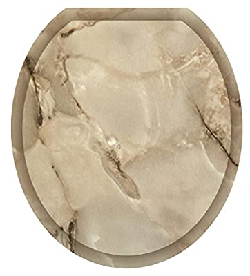 Toilet Tattoos, Toilet Seat Cover Decal,Taupe Marble, Size Round/standard