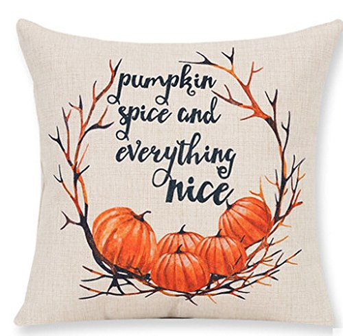 Pumpkin Maple Leaf Wreath Pumpkin Spice and Everything Nice Happy Thanksgiving New Room Sofa Car Decorative Cotton Linen Throw Pillow Case Cushion Cover Square 18 X 18 Inches (Cushions Fall Outdoor)