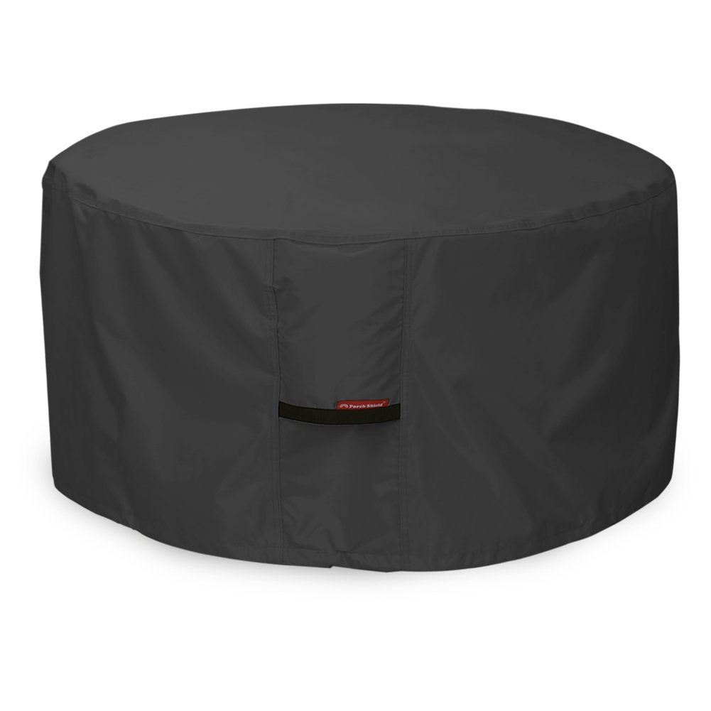 Porch Shield 600D Heavy Duty Patio Round Fire Pit/Table/Bowl Cover 32 inch, 100% Waterproof, Black by Porch Shield (Image #1)