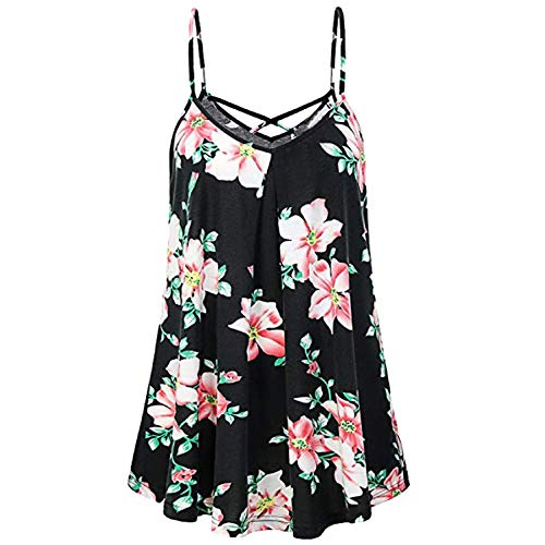 d1692ba00175 Women's Casual Sleeveless Floral Loose Flowy Tank Tops Summer Criss Cross  Spaghetti Strap Vest Top T Shirt Blouse Black