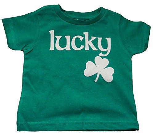 St Pattys Day Outfit (Custom Kingdom Baby Boys/Girls Lucky Irish Shamrock T-shirt Green (12 Months))