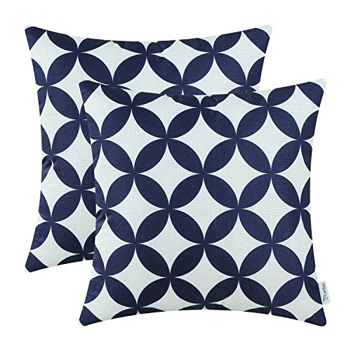 CaliTime Pack of 2 Soft Canvas Throw Pillow Covers Cases for Couch Sofa Home Decoration Modern Circles Rings Chain Geometric 18 X 18 Inches Navy Blue ()