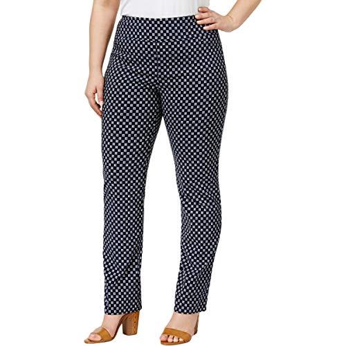 (Charter Club Womens Plus Cambridge Slim Printed Straight Leg Pants Navy 14W)