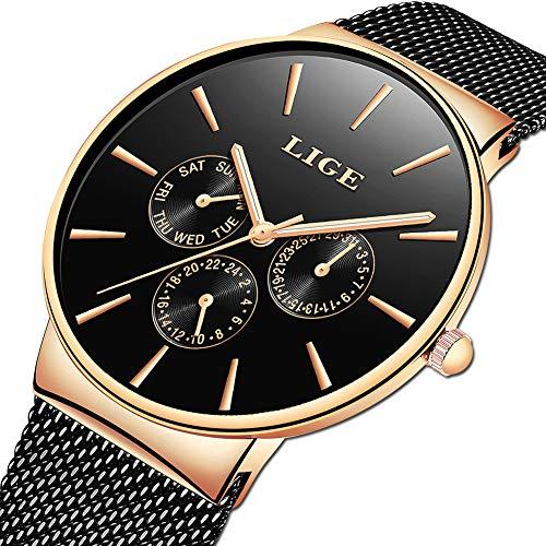 Gold Mesh Buckle - LIGE Mens Watches Fashion Casual Minimalist Analog Quartz Watch for Men Waterproof Stainless Steel Mesh Belt Date Black Gold Gents Dress Wristwatch