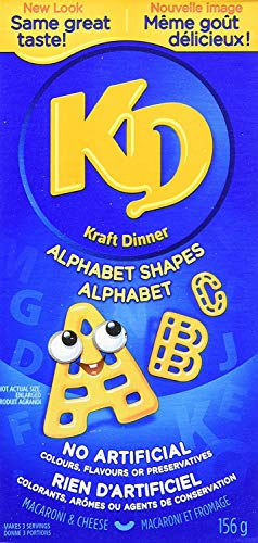 Kraft Dinner Macaroni & Cheese Shapes, Alphabet, 156g/5.5oz., {Imported from Canada} (Kraft Dinner From Canada)
