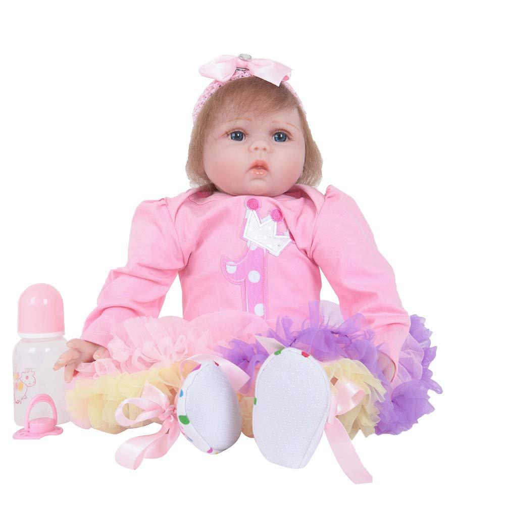 LCLrute Puppe Reborn 55 cm Weiche Silikon Reborn Baby Puppen Vinyl Spielzeug Große Puppen Für Mädchen 3-7 Jahre alte Baby Puppen