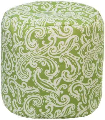 Gold Medal Outdoor Indoor Weather Resistant Ottoman, Colima Verde