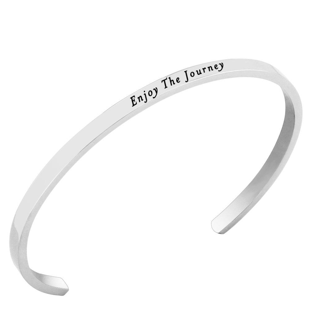 Lademayh Enjoy The Journey Stainless Steel Livestrong Mantra Bracelet Engraved Inspirational Words Bracelet, Personalized Cuff Bangle