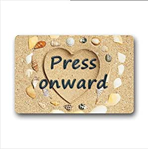 Press onward.funny quotes design non-woven fabric top Custom Doormat,Indoor/Outdoor Floor Mat( 23.6 X 15.7 Inch)