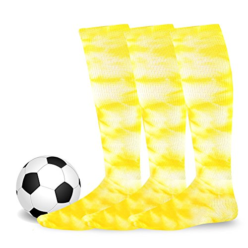 Soxnet Cotton Unisex Soccer Sports Team Socks 3 Pack (Youth (5-7), Tie Dye Yellow)