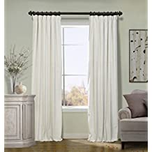 COFTY Off White 50Wx63L Inch (1 Panel) Solid Matt Luxury Heavyweight Velvet Curtain Drape with Blackout Thermal Lining - Flat Hooks Heading for Track