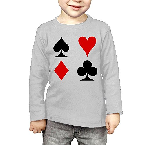 Intaiqub Playing Card Suits Children's Long Sleeves T-Shirt 3 Toddler - Clothing Outlets Pa In