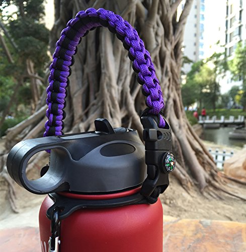 Handle for Hydro Flask - Paracord Survival Strap with Security Ring for Wide Mouth Water Bottles Carrier (Black/Purple) by MOCE