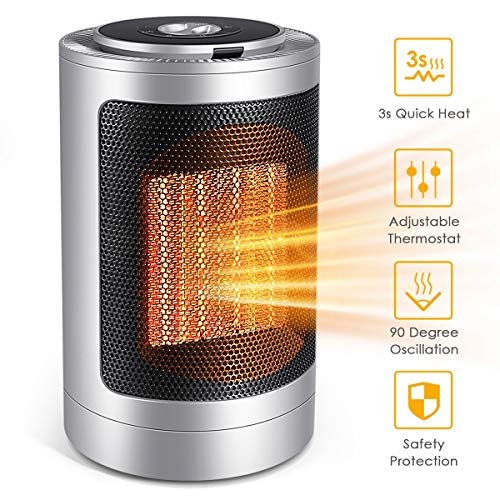 FFDDY Space Heater, Indoor 750W/1500W Ceramic Electric Heater for Home/Office/Bedroom and Bathroom with Adjustable Thermostat, Personal Desk Heater
