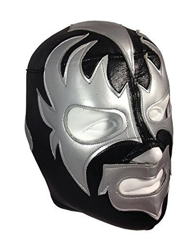 KISS Adult Lucha Libre Wrestling Mask (pro-fit) Costume Wear - Black/Grey ()