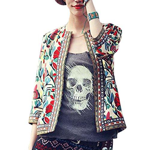 Buenos Ninos Women's 3/4 Sleeve Ethnic Embroidery Cardigan Retro Printed Flyaway Jacket Coat Beige XXL by Buenos Ninos (Image #3)