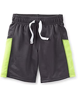 Baby Boys' Active Mesh Shorts-Charcoal (12 Months)
