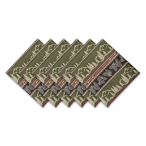Mountain Pinecone (DII 100% Cotton, Oversized Basic Everyday 20x20 Napkin Set of 6, Pinecone Mountain Jacquard)